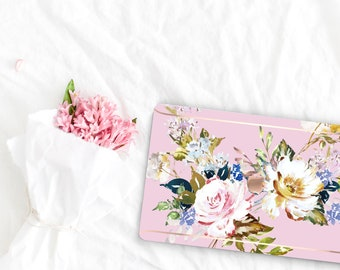 Sweet Pea Flowerly Collection Leather Macbook Case . Distinctive Macbook Hard Case and Rose Gold . Macbook Pro 13 Case . Custom Monogram