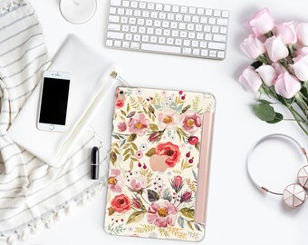 "Morning Floral Medley with Rose Gold Smart Cover Hard Case for      iPad 9.7 2018.  iPad Pro 12.9 2018 . iPad Pro 11"" . iPad Air 10.5"""