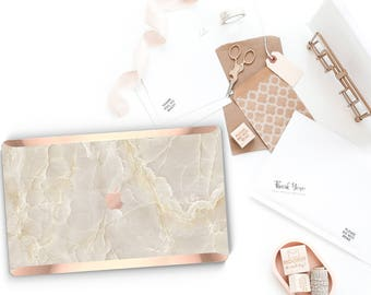 Minimalist Breccia Beige Marble . Distinctive Macbook Hard Case and Bold Rose Gold Accents . Macbook Pro 13 Case . Custom Monogram