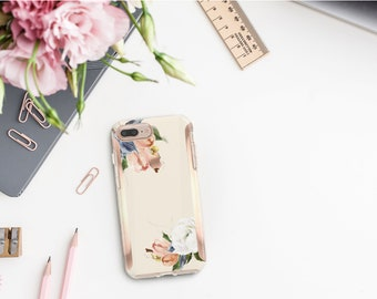 Brushed Alabaster Flowerly Collection and Rose Gold Hard Case Otterbox Symmetry  iPhone X   iPhone 11 Pro Max   iPhone XR      Monogram