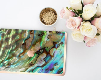 Abalone Shell              . Distinctive Macbook Hard Case and Bold Rose Gold Accents . Macbook Pro 13 Case A2159  . Custom Monogram