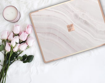 Pink Marble Stone and Rose Gold Edge Vinyl Skin  Microsoft Surface Pro X , Surface Laptop 3 , Surface Pro 7  . Surface Go . Surface Book 3