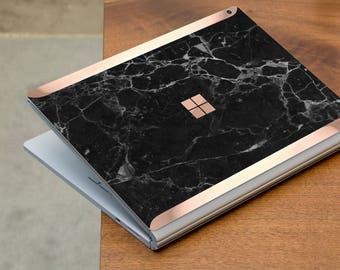 Black Marble and Rose Gold Edge Vinyl Skin  Microsoft Surface Book 2 , Surface Laptop 2 , Surface Pro 6  . Surface Go . Monogram