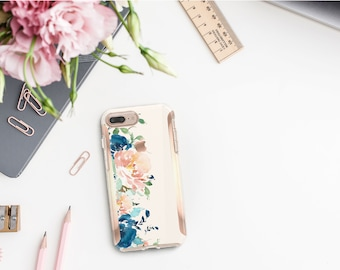 White Chalk Flowerly Collection and Rose Gold Hard Case Otterbox Symmetry. iPhone X . iPhone Xs Max . iPhone XR . iPhone 8 . Monogram