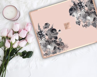 French Rose Flowerly Collection and Rose Gold Edge Vinyl Skin Microsoft Surface Pro X , Surface Laptop 3 , Surface Pro 7 . Surface Go