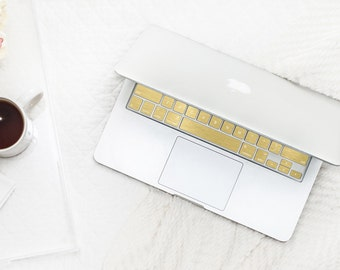 Brushed Gold Chrome Keyboard Key . Keycal . Macbook Pro 13  . Macbook Air  . Macbook Decal . Microsoft Surface - Platinum Edition