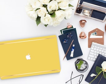 Canary Yellow . Distinctive Macbook Hard Case and Thin Rose Gold Accents . Macbook Pro 13 Case . Macbook Po 15 Touch . Custom Monogram