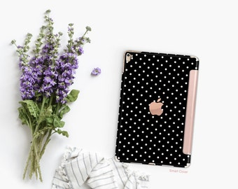 "Small Polka with Rose Gold Smart Cover Hard Case for iPad . Kate Spade Inspired .  iPad 9.7 2018.  iPad Pro 12.9"" 2020 . iPad Pro 11"""