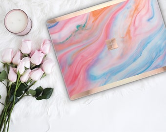 Pastel Marble and Rose Gold Edge Vinyl Skin  Microsoft Surface Book 2 , Surface Laptop 2 , Surface Pro 6  . Surface Go . Monogram
