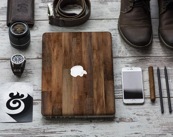 "Dark Varnished Wood Vinyl Skin Decal Apple Macbook Air , Macbook Pro , New Macbook Pro 13 Touch , New Macbook Air 13"" A2179"