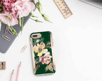 Phthalo Green Flowerly Collection and Rose Gold Hard Case Otterbox Symmetry. iPhone X . iPhone Xs Max . iPhone XR . iPhone 8 . Monogram