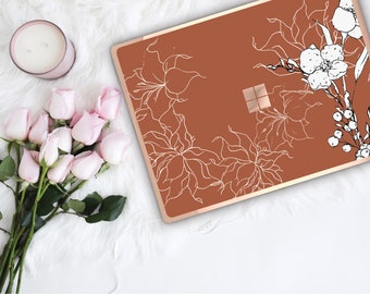 Saddle Flowerly Collection and Rose Gold Edge Vinyl Skin Microsoft Surface Book 2 , Surface Laptop 2 , Surface Pro 6 . Surface Go . Monogram