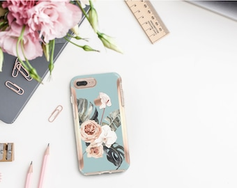 Hazy Boho Flowerly Collection and Rose Gold Hard Case Otterbox Symmetry. iPhone X . iPhone Xs Max . iPhone XR . iPhone 8 . Monogram