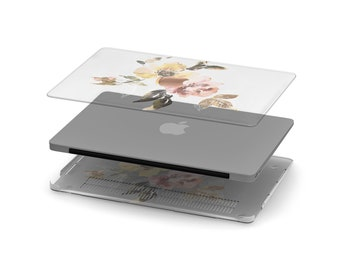 Vintage Water Blooms Crystal Clear Transparent Macbook Case. Distinctive Macbook Hard Case and Rose Gold Apple . Macbook Pro 13 Case A2159
