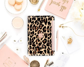 "Elusive Leopard with Rose Gold Smart Cover Hard Case for the iPad Pro .  iPad 9.7 2018.  iPad Pro 12.9 2018 . iPad Pro 11"". iPad Air 10.5"""