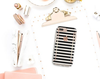 Black Stripes . Kate Spade Inspired . Rose Gold Case . Otterbox Symmetry. iPhone X . iPhone Xs Max . iPhone XR . iPhone 8 . PopSocket