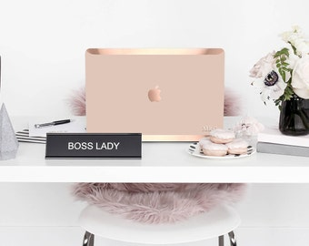 Sophisticated Toasted Wheat . Blush . Distinctive Macbook Hard Case and Bold Rose Gold Accents . Macbook Pro 13 Case . Custom Monogram