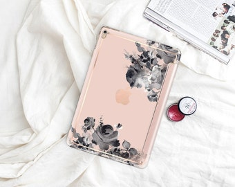 "French Rose with Rose Gold Smart Cover Hard Case . iPad Pro 12.9"" 2020 . iPad Pro 11"" . iPad Air 10.5"". iPad Pro  2020 . Custom Monogram"