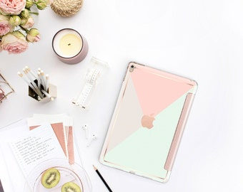 "Pastel Shades with Rose Gold Smart Cover Hard Case for iPad 9.7 2018 iPad Pro 12.9"" 2020 . iPad Pro 11"" . iPad Air 10.5"""