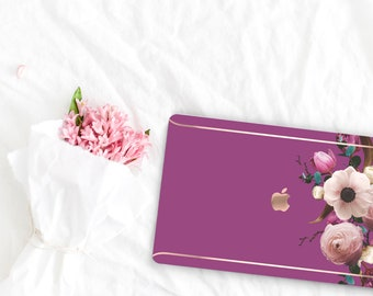 Razzmic Berry Flowerly Collection Leather Macbook Case . Distinctive Macbook Hard Case and Rose Gold . Macbook Pro 13 Case . Custom Monogram
