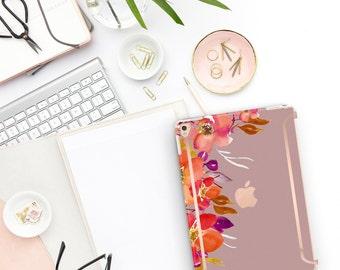 "Mauve Mist Flowerly Collection Bold Rose Gold Accents   Smart Keyboard compatible Hard . iPad Air 10.5"" . iPad Mini 5 . iPad Pro 10.5"""