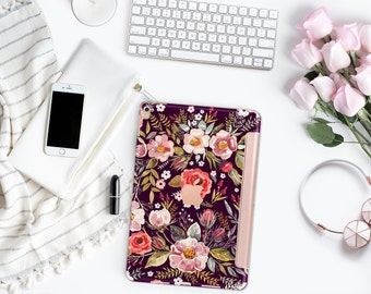 "Midnight Floral Medley with Rose Gold Smart Cover Hard Case for      iPad 9.7 2018.  iPad Pro 12.9 2018 . iPad Pro 11"" . iPad Air 10.5"""