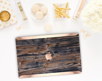 Rustic Black Forest Wood . Distinctive Macbook Hard Case and Bold Rose Gold Accents . Macbook Pro 13 Case A2159  . Custom Monogram