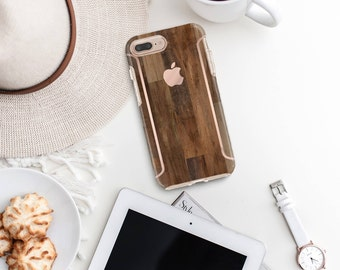 Dark Untreated Wood iPhone Case and Rose Gold   Otterbox Symmetry             . iPhone X . iPhone Xs Max . iPhone XR . iPhone 8 . PopSocket