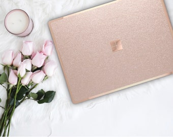 Nude Sparkle Shimmer Glitter and Rose Gold Edge Vinyl Skin Microsoft Surface Pro X , Surface Laptop 3 , Surface Pro 7 . Surface Go
