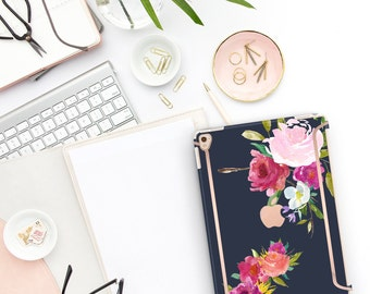 "Navy Blue Flowerly Collection Bold Rose Gold Accents   Smart Keyboard compatible Hard . iPad Air 10.5"" . iPad Mini 5 . iPad Pro 10.5"""
