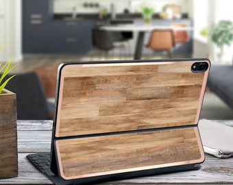 "Light Wood Faux and Rose Gold Vinyl Skin Decal for  Apple Smart Keyboard Folio Magic Keyboard  . iPad Pro 12.9"" . iPad Pro 2020"" . Monogram"
