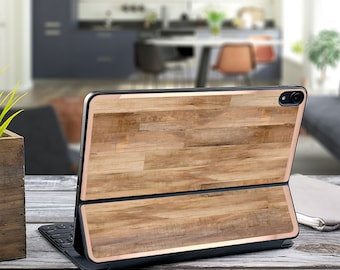"Light Wood Faux and Rose Gold Vinyl Skin Decal - Apple Smart Keyboard Folio iPad Pro 11"" . iPad Pro 12.9"" . iPad Air 10.5"" . Monogram"