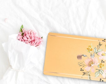 Macaroni and Cheese Flowerly Collection Leather Macbook Case . Distinctive Macbook Hard Case and Rose Gold . Macbook Pro 13 Case . Monogram