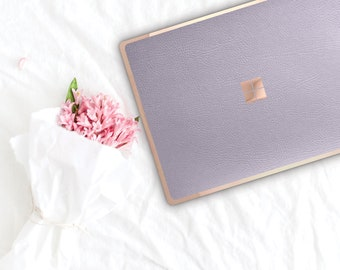 Frozen Lilac and Rose Gold Edge Vinyl Skin Microsoft Surface Book 2 , Surface Laptop 2 , Surface Pro 6 . Surface Go . Monogram