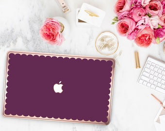 Purple Davenport Scallop Macbook Case . Distinctive Macbook Hard Case and Bold Rose Gold Accents . Macbook Pro 13 Case . Custom Monogram
