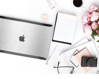 Elegant Brushed Aluminum and Satin Black Accents . Distinctive Macbook Hard Case . Macbook Pro 13 Case . Custom Monogram