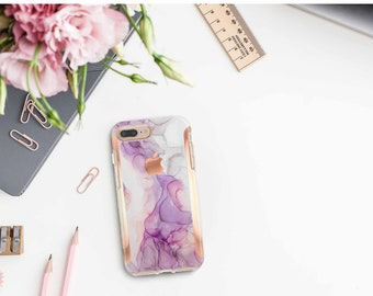 Brushed Amethyst Ink Marble and Rose Gold Hard Case Otterbox Symmetry  . iPhone X . iPhone Xs Max . iPhone XR .  iPhone 11