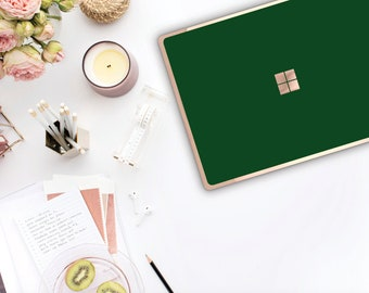 Phthalo Green Rose Gold Edge Vinyl Skin  Microsoft Surface Pro X , Surface Laptop 3 , Surface Pro 7 . Surface Go  Monogram