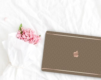 Moss Pattern Collection Leather Macbook Case . Distinctive Macbook Hard Case and Rose Gold . Macbook Pro 13 Case A2159  . Custom Monogram