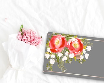 Taupe Gray Flowerly Collection Leather Macbook Case . Distinctive Macbook Hard Case and Rose Gold . Macbook Pro 13 Case . Custom Monogram