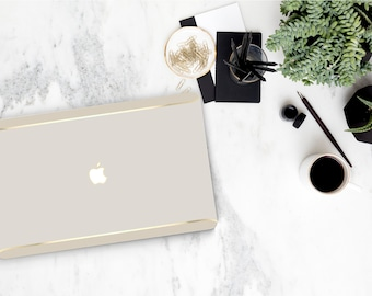 Platinum Edition . Macbook Pro 13 Case Marshmallow and Cream Duo Tone . Macbook Case . Distinctive Macbook Hard Case and Thin Gold Accents
