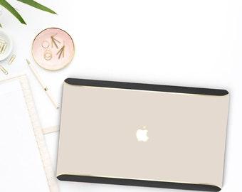 Ash White with Gold Black Velvet . Distinctive Macbook Hard Case and Thin Gold Accents . Macbook Pro 13 Case . Custom Monogram
