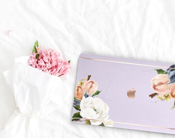 Frozen Lilac Flowerly Collection Leather Macbook Case . Distinctive Macbook Hard Case and Rose Gold . Macbook Pro 13 Case . Custom Monogram
