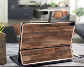 "Dark Wood Faux and Rose Gold Vinyl Skin Decal for  Apple Smart Keyboard Folio Magic Keyboard  . iPad Pro 12.9"" . iPad Pro 2020"" . Monogram"