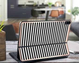 "Black Stripes and Rose Gold Vinyl Skin Decal . Kate Spade Inspired . Apple Smart Keyboard Folio Magic Keyboard  . iPad Pro 12.9"" . iPad Air"