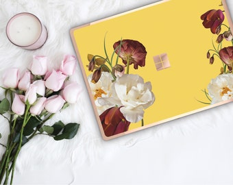 Canary Flowerly Collection and Rose Gold Edge Vinyl Skin Microsoft Surface Pro X , Surface Laptop 3 , Surface Pro 7  Surface Go