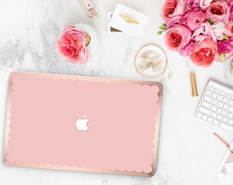 Mimosa Pink Scallop Macbook Hard Case . Distinctive Macbook Hard Case and Bold Rose Gold Accents . Macbook Pro 13 Case . Custom Monogram