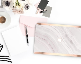 Cute Pink Marble Stone . Distinctive Macbook Hard Case and Bold Rose Gold Accents . Macbook Pro 13 Case . Custom Monogram