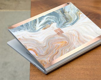 Brown Nacre Marble and Rose Gold Edge Vinyl Skin  Microsoft Surface Pro X , Surface Laptop 3 , Surface Pro 7  . Surface Go . Surface Book 3