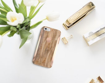 Untreated Wood and Rose Gold Hard Case Otterbox Symmetry . iPhone X . iPhone Xs Max . iPhone XR . iPhone 8 . PopSocket
